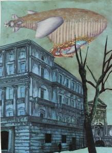 steampunk airship dusk