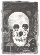 mourning skull-framed