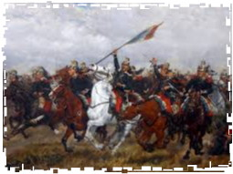 war-games-cavalry-charge into maxim framed