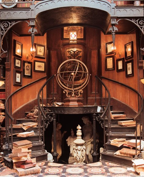 mansion books on staircase