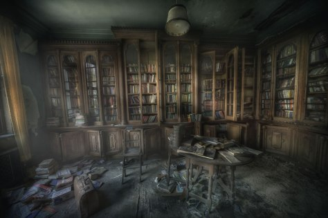 mansion Library-ghosts-The-Manor-library-was-very-dusty