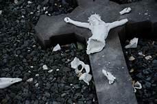 ruins broken crosses